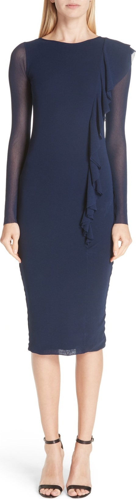 Fuzzi Asymmetrical Ruffle Long Sleeve Dress