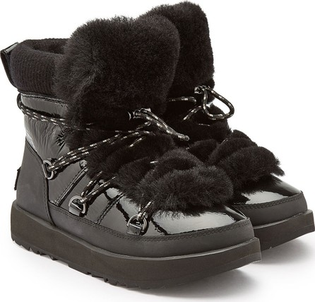 UGG Highland Waterproof Moon Boots with Patent Leather and Wool