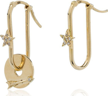 Foundrae 18kt yellow gold small fob link base star and arrow disc earrings