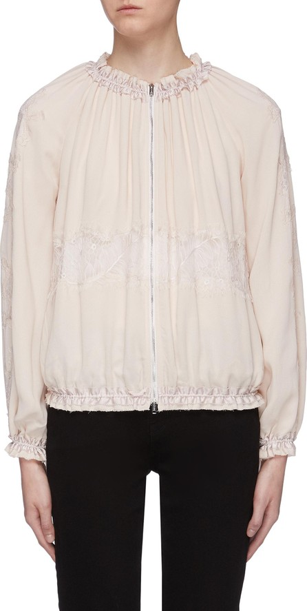 3.1 Phillip Lim Chantilly lace insert ruched bomber jacket