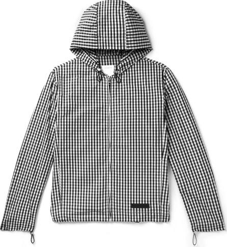 Sandro Gingham Shell Hooded Jacket