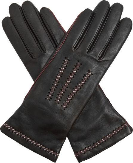 Agnelle Contrast-stitch leather gloves