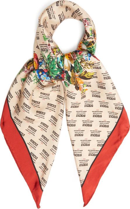 Gucci Invite and flowers-print silk-twill scarf