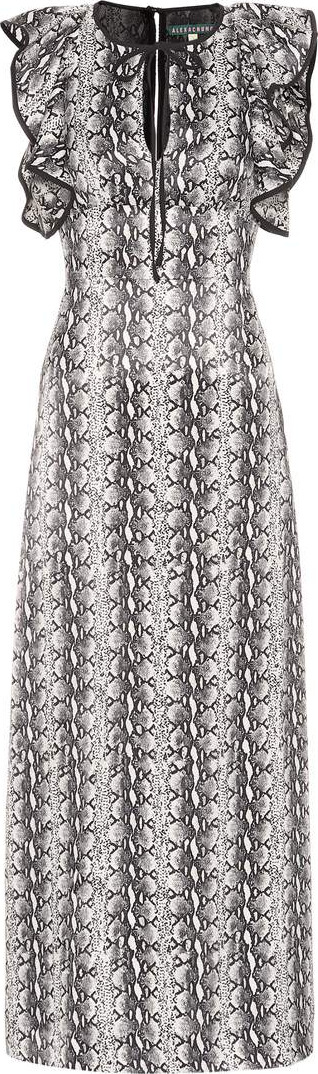 Alexachung Ruffled snakeskin-printed dress