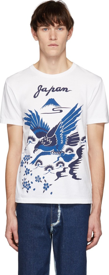 Blue Blue Japan SSENSE Exclusive White Hawk Pine & Mt Fuji Sakura T-Shirt