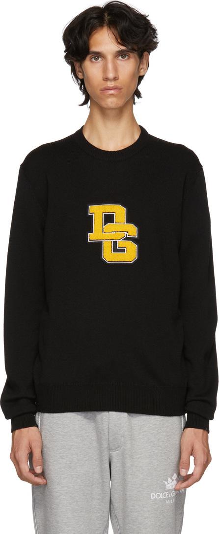 Dolce & Gabbana Black Varsity Patch Crewneck Sweater