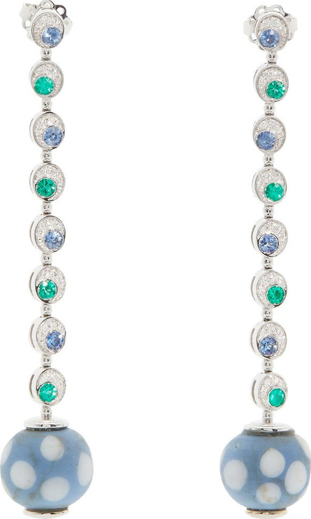 Francesca Villa 18kt white gold and Venetian eye-bead earrings