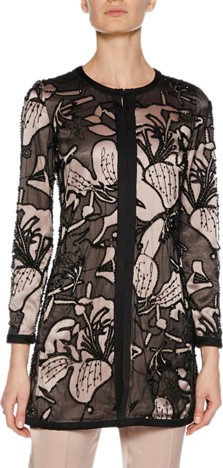 Giorgio Armani Long-Sleeve Embroidered and Embellished Jacket w/ Satin Lining