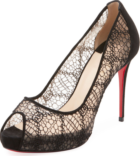 Christian Louboutin Very Lace Peep-Toe Red Sole Pump
