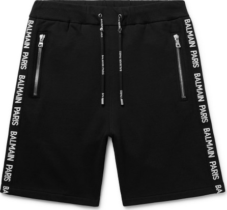 Balmain Slim-Fit Logo-Jacquard Loopback Cotton-Jersey Shorts