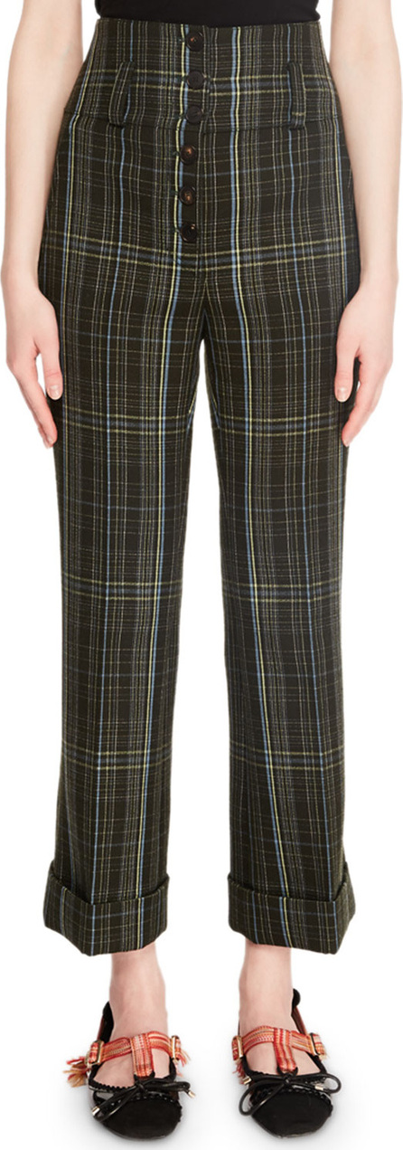 Carven Cropped High-Rise Plaid Wool Pants