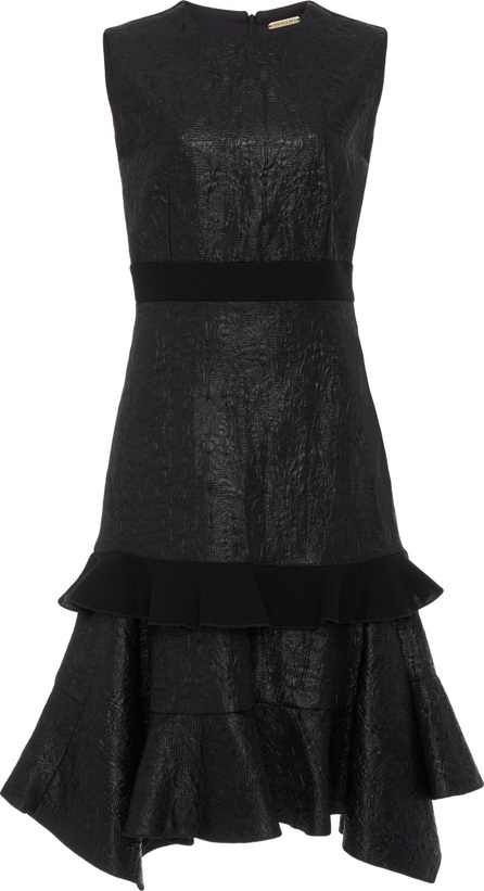 Amelia Toro Embossed Faux Leather And Wool Midi Dress