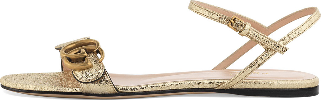 d13ad30db Gucci Marmont Flat Double-G Metallic Leather Sandal - Mkt
