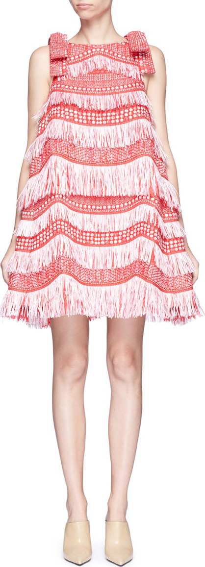 Angel Chen Detachable bow fringe raffia dress