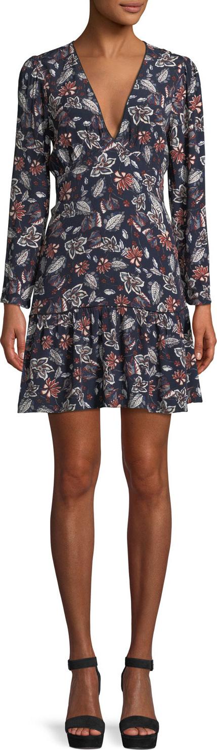 Ella Moss Lon-Sleeve V-Neck Floral-Print Dress