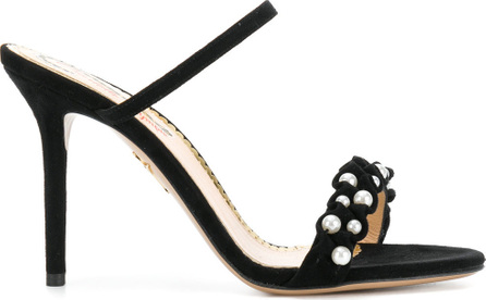 Charlotte Olympia Pearl beaded trim strappy mid-heel sandals
