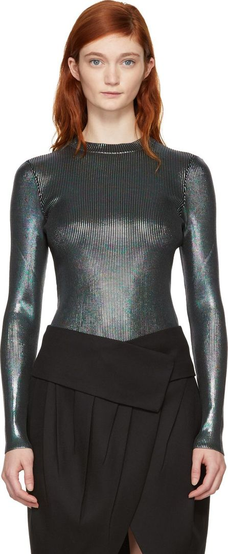 Christopher Kane Multicolor Ribbed Foil Pullover