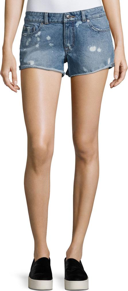 DL1961 Renee Bleached-Spots Cutoff Denim Shorts, Indigo
