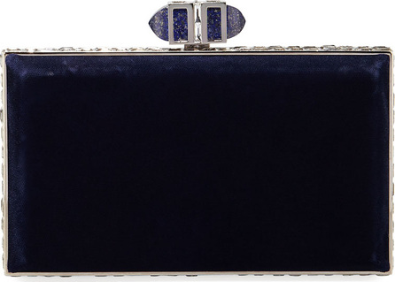 Judith Leiber Velvet Coffered Rectangle Box Clutch Bag
