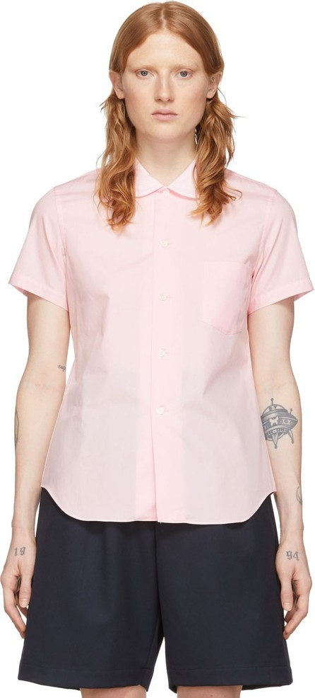 Comme Des Garçons Girl Pink Peter Pan Collar Short Sleeve Shirt