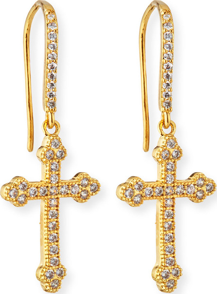 Fallon Micro Crucifix Earrings, Golden