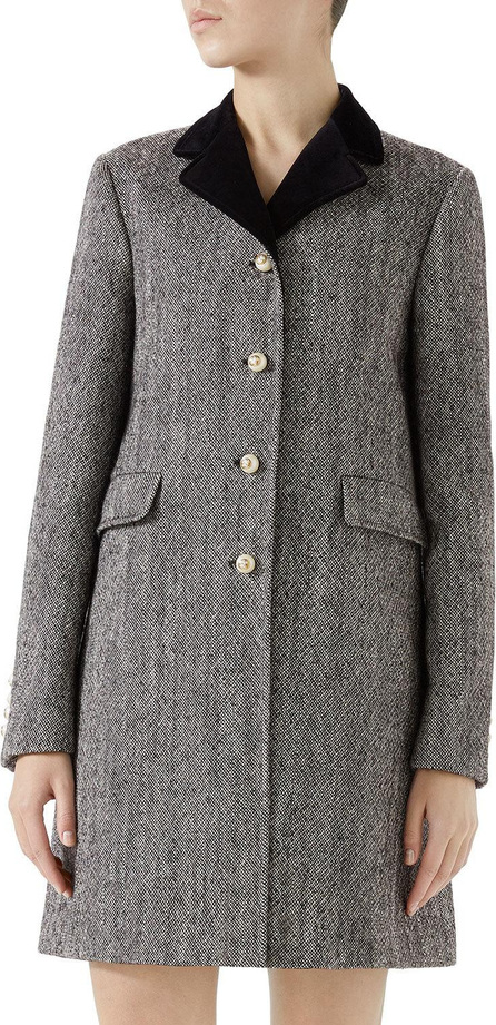 Gucci Velvet-Collar Wool Coat w/ Pearly Buttons