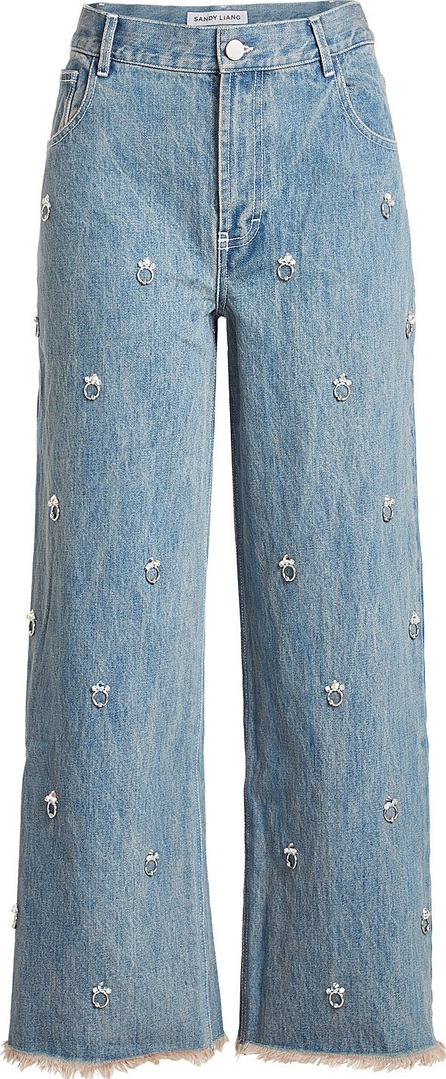 Sandy Liang Ghost Embellished Jeans