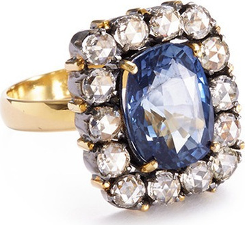Aishwarya Diamond sapphire gold alloy square ring