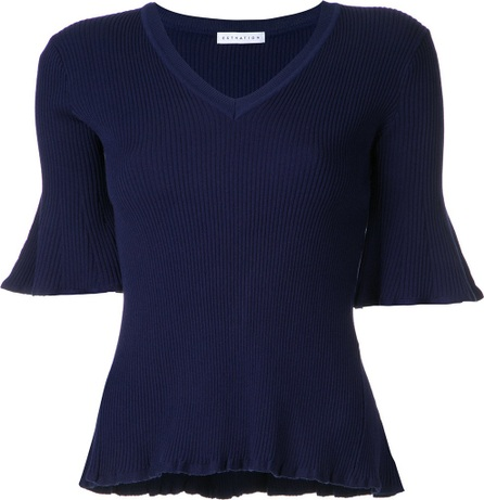 Estnation flared V-neck top