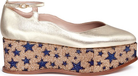 Aperlai 'Fabulous' star strass pavé leather platform flats