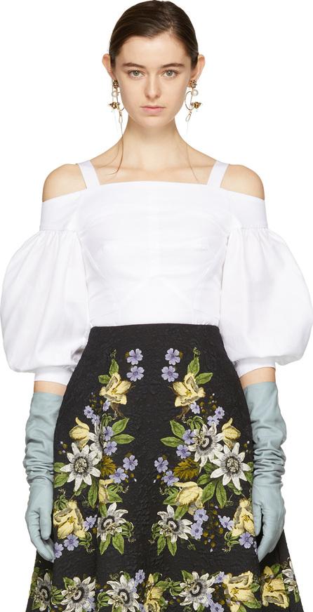 Erdem White Varina Off-the-Shoulder Blouse