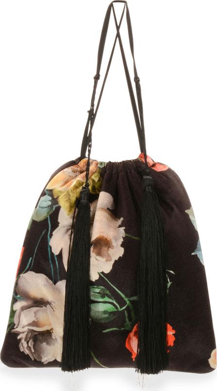 Attico Printed Floral Velvet Pouch Bag