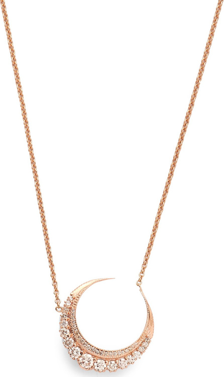 Jacquie Aiche Diamond and rose-gold crescent moon necklace