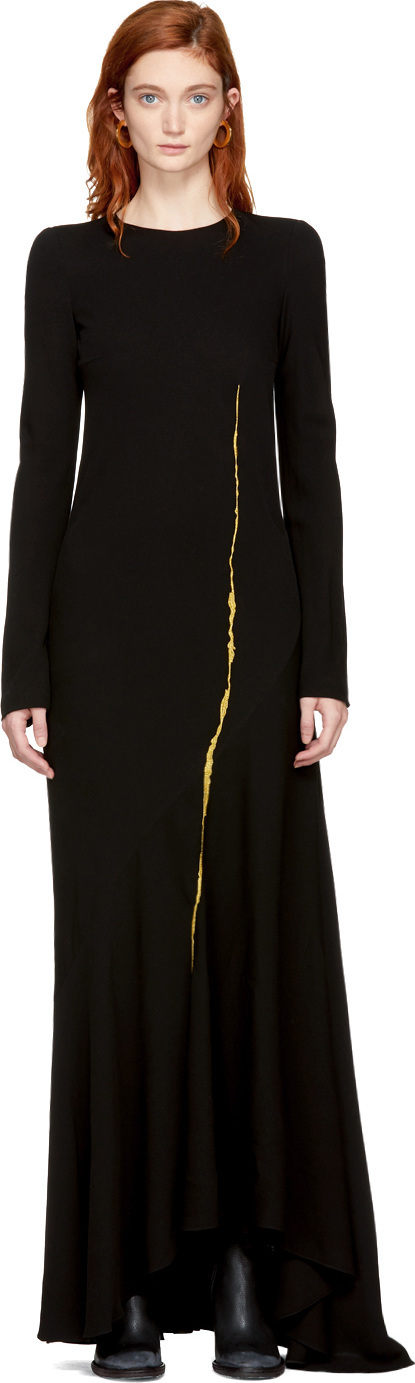 Haider Ackermann Black Embroidered Round Shoulder Dress