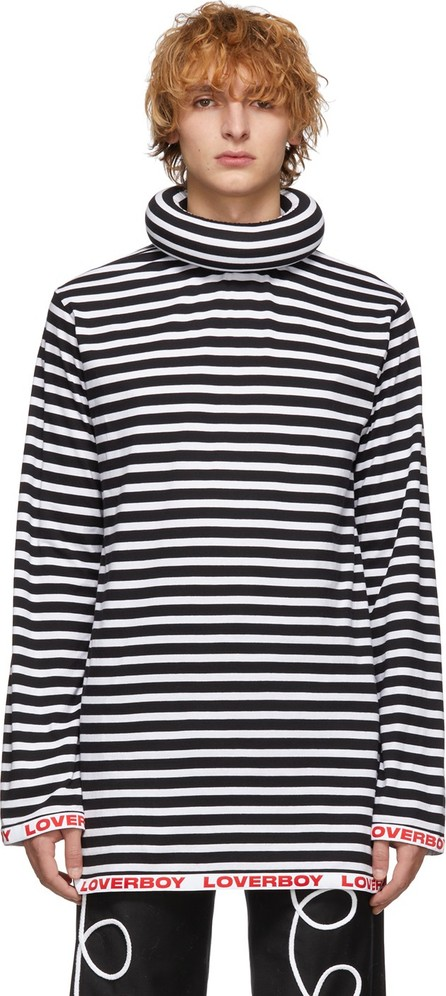 Charles Jeffrey Loverboy Black & White Stripe Logo Turtleneck