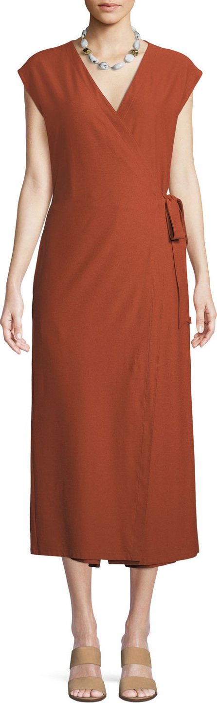Eileen Fisher Sleeveless Wrap-Front Jumpsuit, Petite