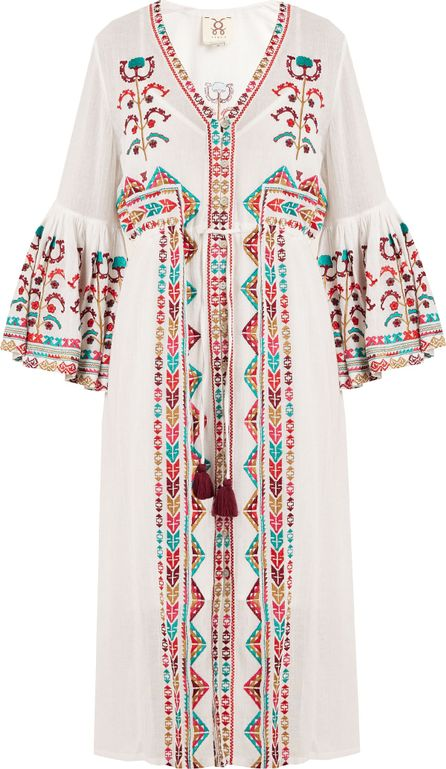 FIGUE Minette tribal-embroidered cotton dress