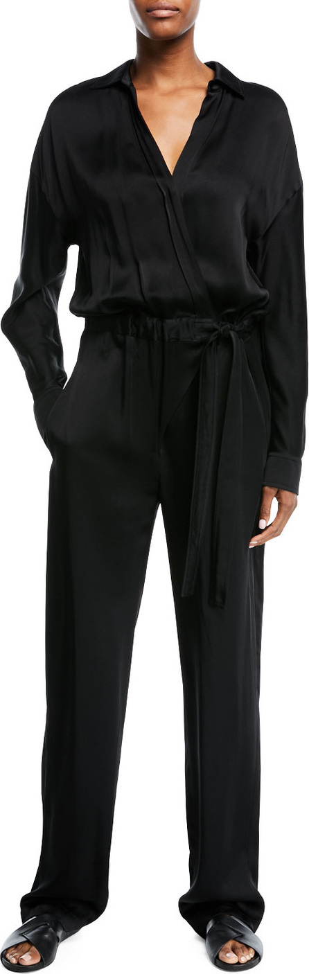 Vince Cross-Front Long-Sleeve Jumpsuit