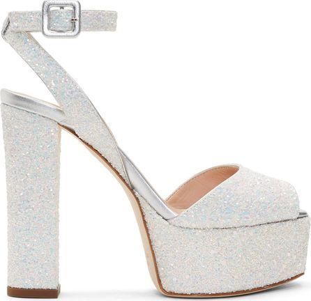 Giuseppe Zanotti White Glitter Lavinia Platform Sandals