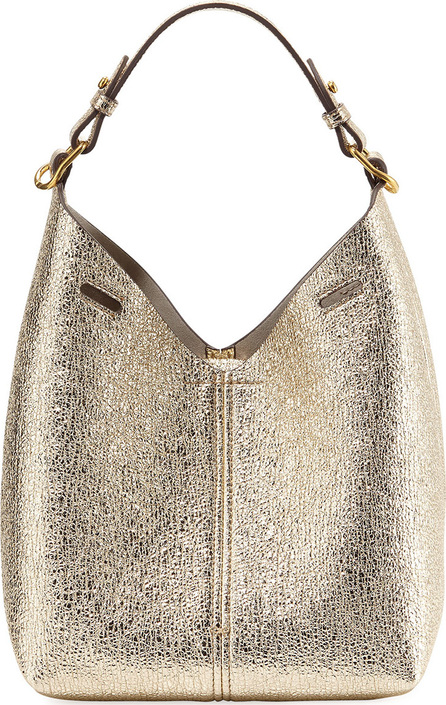 Anya Hindmarch Build A Bag Mini Crinkled Metallic Hobo Bag, Light Gold