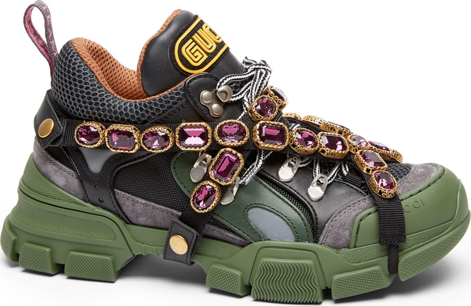 Gucci Flashtrek Jewel Sneaker In Grey Mkt Flash  Olivia Sneakers