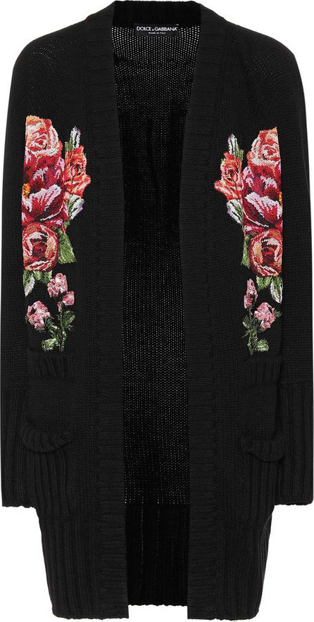 Dolce & Gabbana Floral-embroidered cashmere cardigan