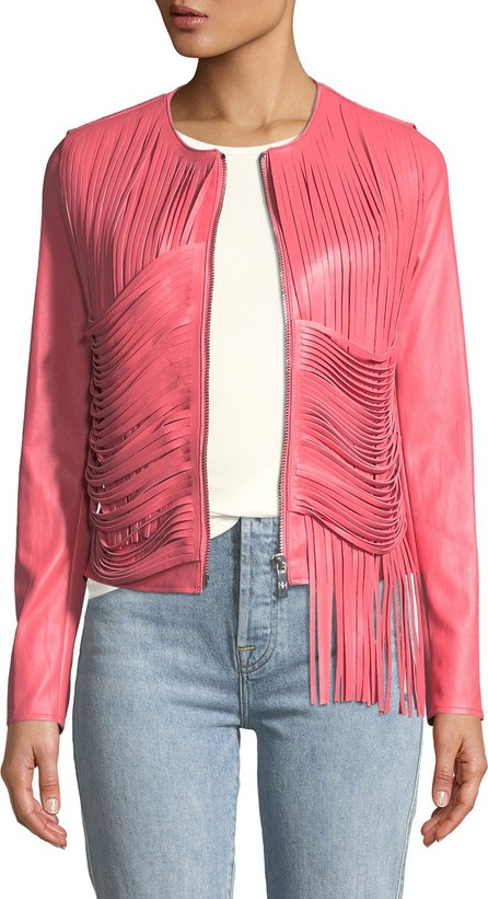 Nour Hammour Retrograde Leather Fitted Jacket with Draped Fringe