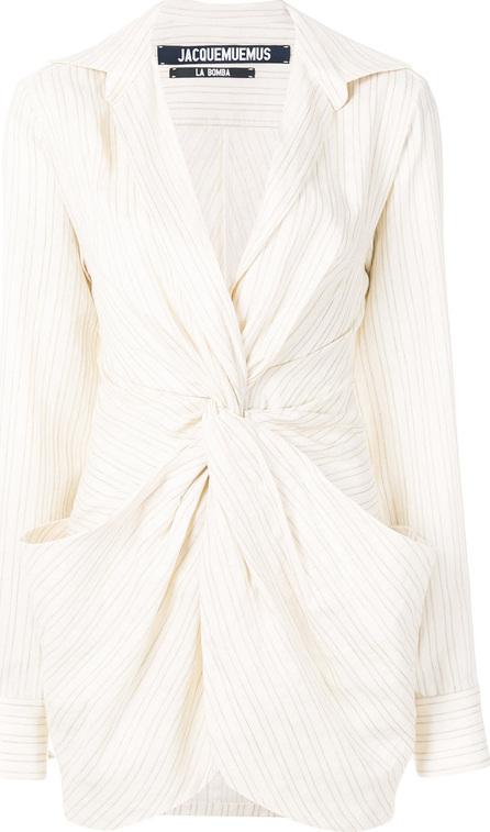 Jacquemus Striped knot front shirt dress