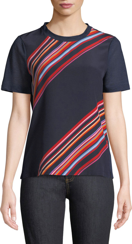 Tory Burch Kayla Asymmetric Striped T-Shirt