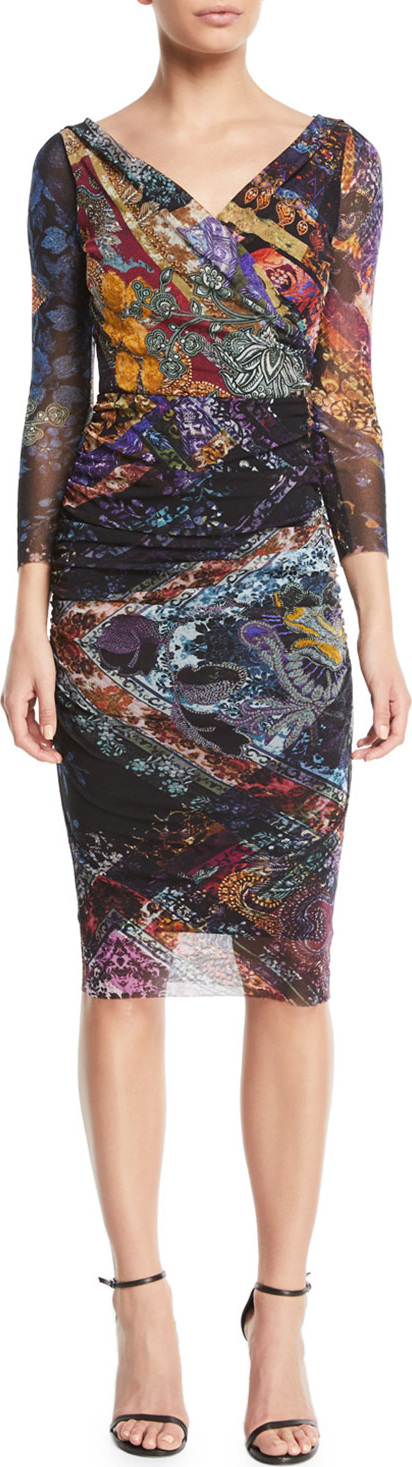 Fuzzi 3/4-Sleeve Printed Body-Con Tulle Dress