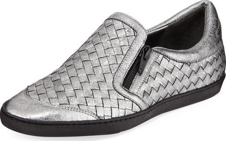 Sesto Meucci Falcon Woven Metallic Leather Sneakers, Gray