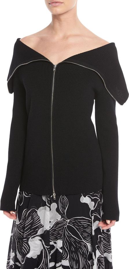 Fuzzi Front-Zip Off-the-Shoulder Sweater