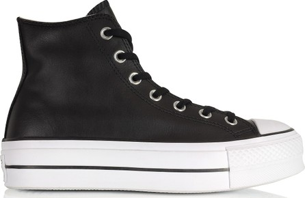 129723182abd Converse Chuck Taylor All Star Lift Clean Black Leather High Top Platform  Sneakers