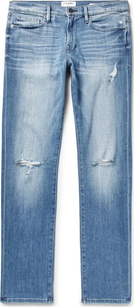 FRAME DENIM L'Homme Slim-Fit Distressed Stretch-Denim Jeans